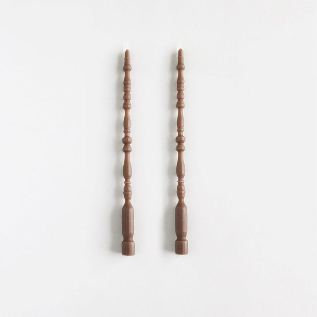 Modern Spindle Leg Taper Beeswax Candles in Fawn - a Pair For Sale - Image 3 of 3