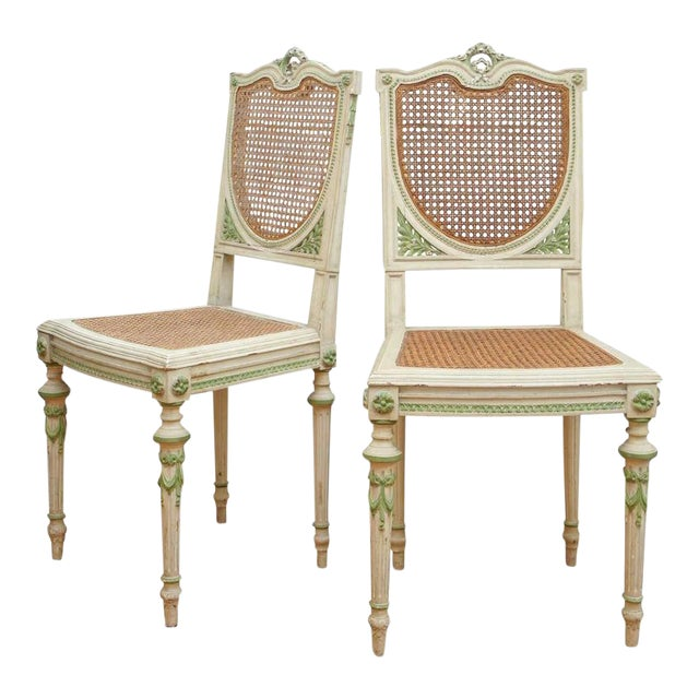Painted Italian Green and White Side Chairs - a Pair For Sale