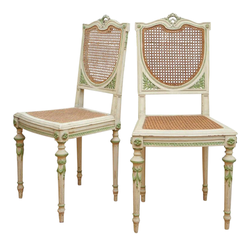 Painted Italian Green And White Side Chairs   A Pair