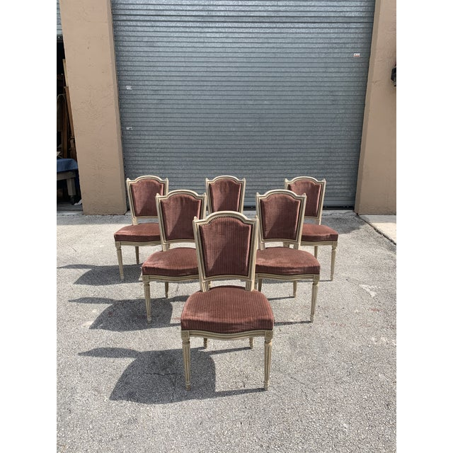 French Country 1910s Vintage French Louis XVl Solid Mahogany Dining Chairs - Set of 6 For Sale - Image 3 of 13