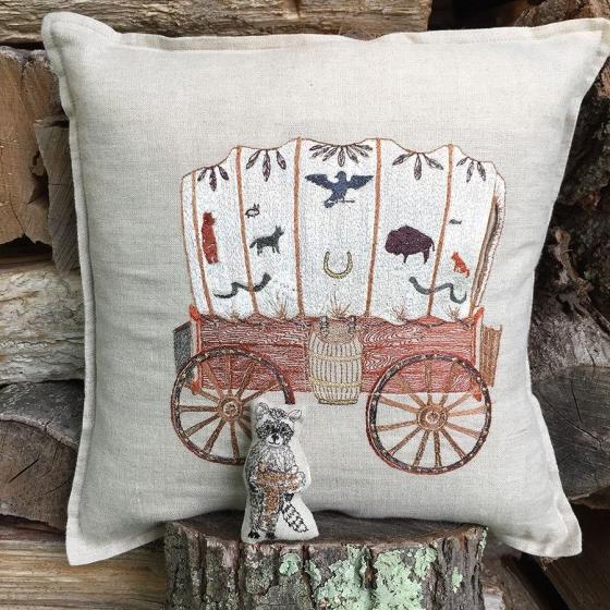 raccoon saddle maker wagon pocket pillow chairish
