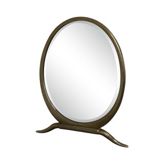 French Art Deco Style Nickel Finish Oval Table Top Vanity Mirror For Sale