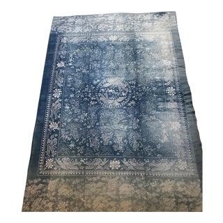 Antique Asian Faded Indigo Cotton Shanghai Batik Mystical Dragon Textile For Sale