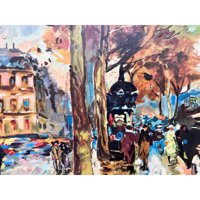 French 1960s Vintage Bridge, Street, Seine River - France Oil Painting For Sale - Image 3 of 9