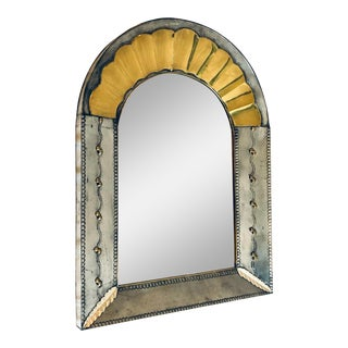 Mexican Punched Tin and Brass Mirror For Sale