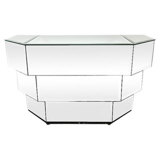 1970s Mirrored Ello Low Console For Sale