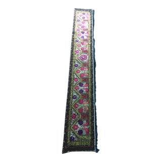 Vintage Uzbekistan Embroidered Silk Suzani Wall Runner For Sale