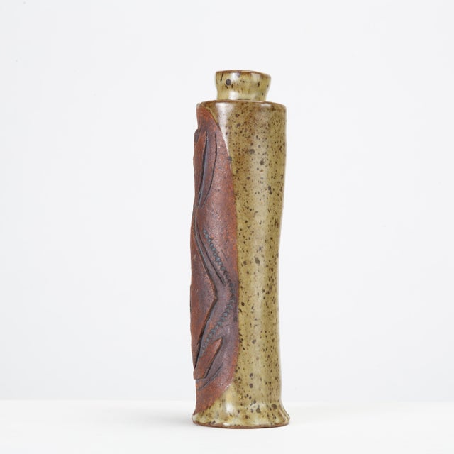 1970s Hand-Built Studio Pottery Vase With Raised Details For Sale - Image 5 of 8