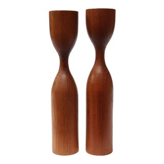 Turned Danish Modern Teak Candlesticks - A Pair
