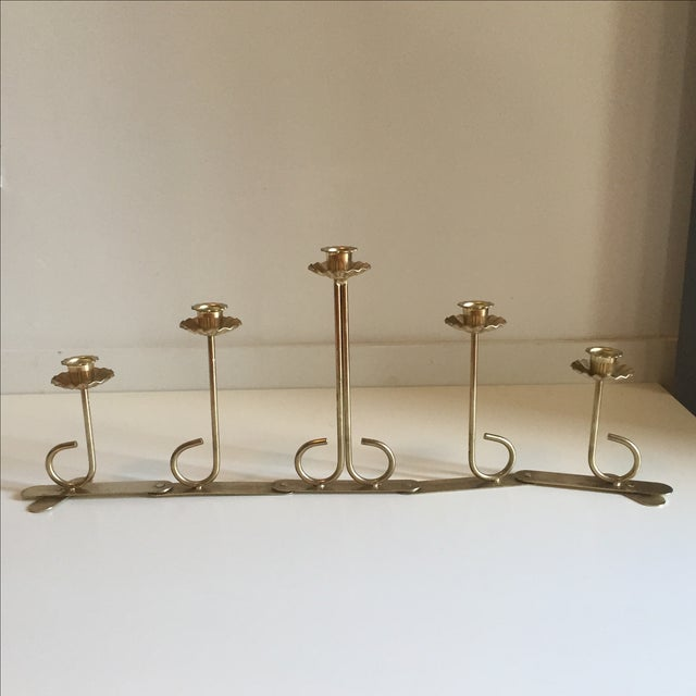 Mid Century Brass Folding Candelabra - Image 3 of 6