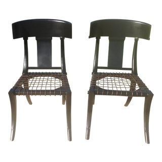 Klismos Ebony Chairs- A Pair For Sale