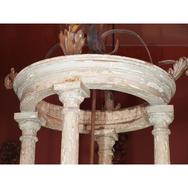 Large French and Iron Wood Painted Lantern For Sale - Image 9 of 10