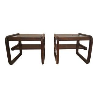 Contemporary Glass Top End Tables - a Pair