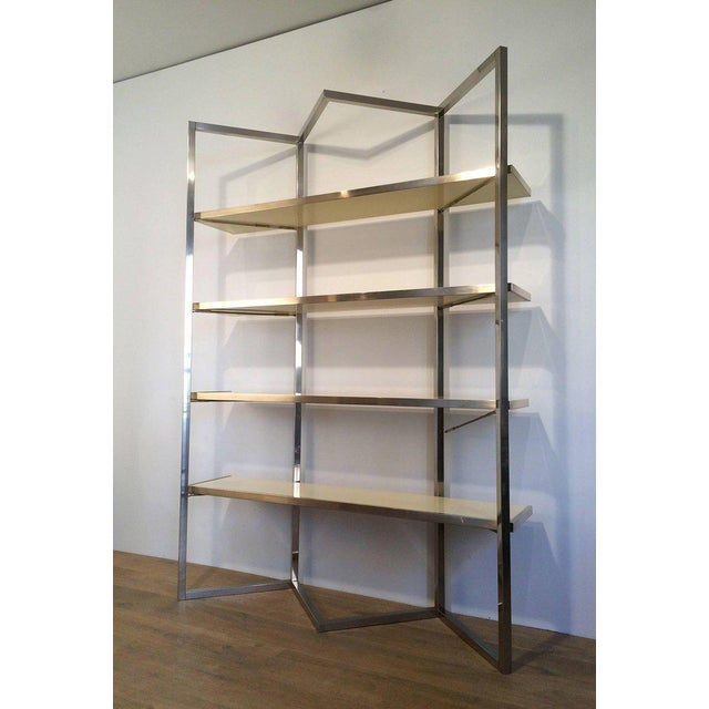 Chrome and Egg Shell Lacquered Etagere - Image 3 of 11