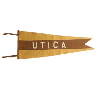 Antique Utica Ny Felt Flag Pennant