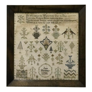 18th Century Antique Needlework Sampler Textile Art, Named & Dated For Sale