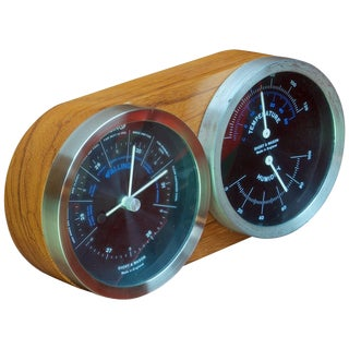 1960s Mid-Century Rosewood Office Table Weather Barometer Thermometer Gauges For Sale