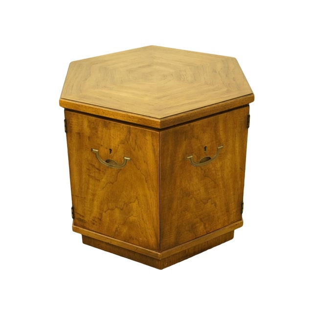 20th Century Campaign Drexel Heritage Accolade II Collection Hexagonal Storage Cabinet For Sale