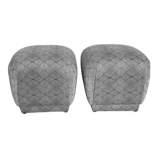 A Pair of Souffle Poufs With Concentric Square Upholstery For Sale