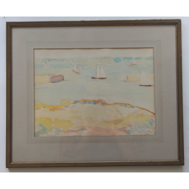 Mid-Century Seascape Watercolor by Liz Ide - Image 2 of 9