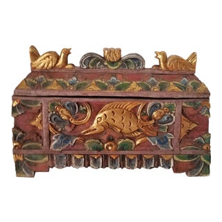 Antique Balinese Hand Carved Mythical Wooden Box For Sale