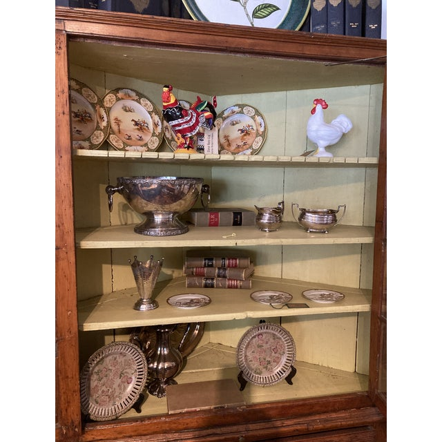 Pine Corner Cabinet With Wavy Original Glass For Sale In Kansas City - Image 6 of 8