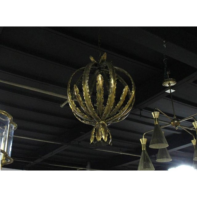 "Mid-Century Modern Vintage Mid Century Brutalist Circular ""Bouquet"" Pendant Light Fixture For Sale - Image 3 of 11"