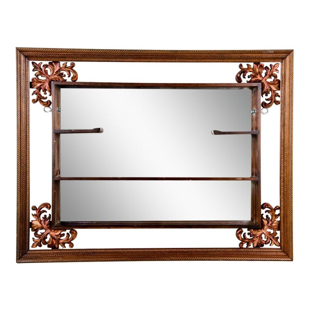 1960s Victorian Mahogany Decorative Wall Mirror With Shelves For Sale