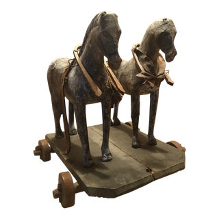 Late 19th Century Vintage Horse Pulley Toy For Sale