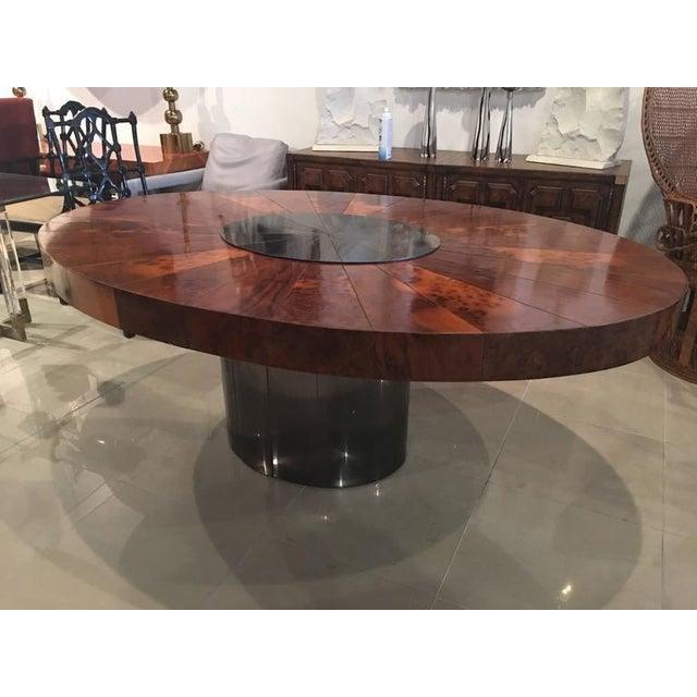 Paul Evans Burlwood Dining Table Brushed Metal For Sale - Image 10 of 12