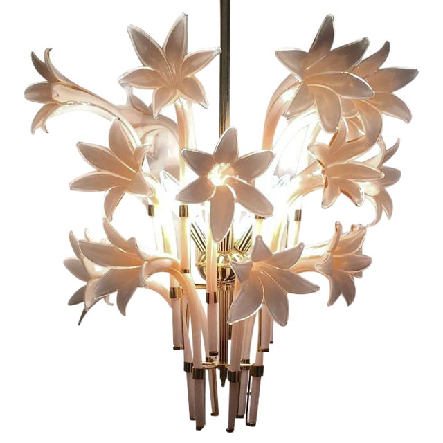 Vintage Pink Lily Murano Chandelier - Image 1 of 10