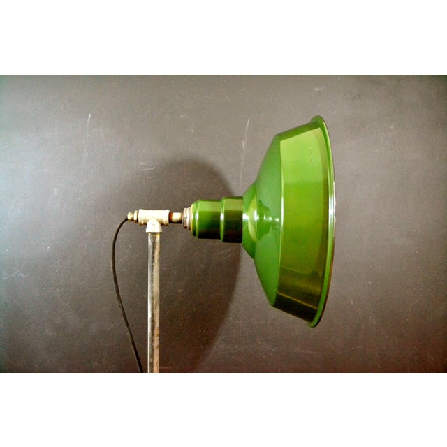 Industrial Floor Lamp With Green Enamel Shade - Image 7 of 8