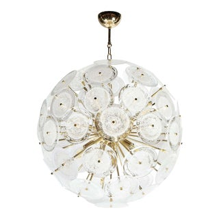 Polished Brass Sputnik Chandelier with Hand Blown Translucent Murano Glass Discs For Sale