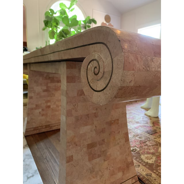 1980s Hollywood Regency Maitland -Smith Tessellated Pink Scroll Marble Console Table For Sale - Image 12 of 13