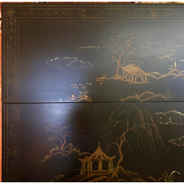 1980s Chinoiserie Baker Furniture Black Lacquer Gate Leg Side Table For Sale - Image 9 of 11