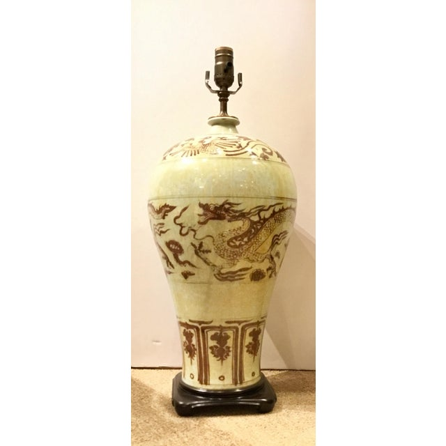 2010s Asian Style Large Chinease Porcelain Sepia Glazed Dragon Table Lamp For Sale - Image 5 of 5