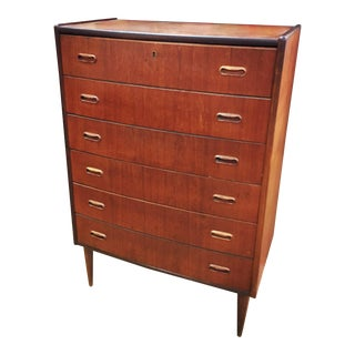 1960s Danish Modern Teak Rosewood Bowed Chest of Drawers For Sale