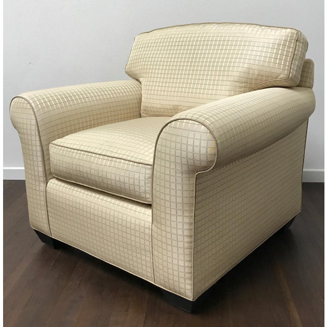 "Sink into this elegant, custom RJones lounge chair with loose seat/back cushions and contrast welt. Seat height 18""...."