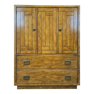Drexel Heritage Woodbriar Pecan Campaign Style Gentleman's Chest / Armoire For Sale