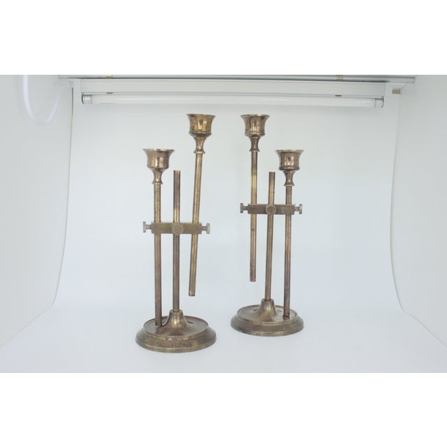 Brass Industrial Adjustable Candlesticks - Pair - Image 2 of 9