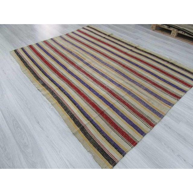 """Vintage Striped Turkish Kilim Rug - 6'2"""" x 8'2: For Sale - Image 5 of 6"""