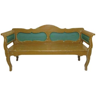 Hungarian Mustard and Green Painted Bench, circa 1900 For Sale