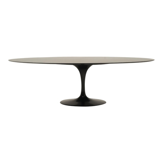 Large Oval Dining / Conference Table in Black Granite by Eero Saarinen for Knoll For Sale