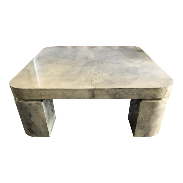 Karl Springer Style Lacquered Goatskin Coffee Table - Image 1 of 8
