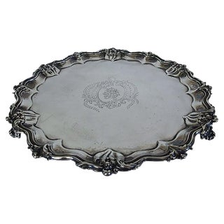 Antique English Silver-Plate Monogrammed Tray For Sale
