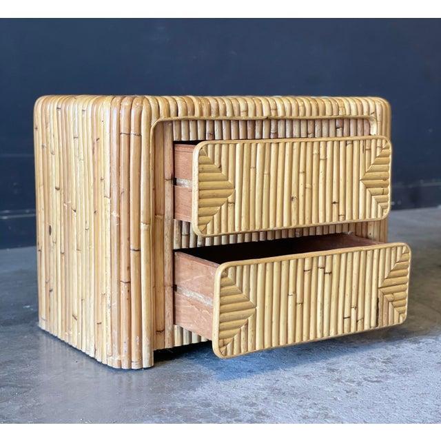 Wood Rattan Nightstand For Sale - Image 7 of 12