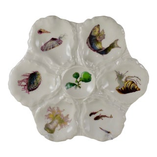 Haviland Limoges Porcelain Hand Painted Fish & Sea Anemone Oyster Plate For Sale