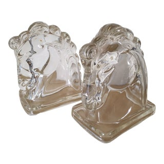 Vintage Glass Horse Head Bookends - a Pair For Sale