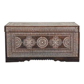 20th C. Large Shell Inlaid Filipino Trunk For Sale