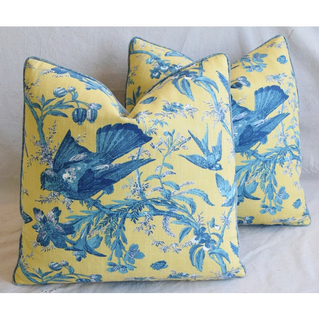 """Designer Blue & Yellow Bird and Butterflies Feather/Down Pillows 21"""" Square - Pair For Sale - Image 13 of 13"""